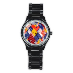Background Fabric Multicolored Patterns Stainless Steel Round Watch