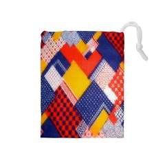Background Fabric Multicolored Patterns Drawstring Pouches (medium)