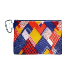 Background Fabric Multicolored Patterns Canvas Cosmetic Bag (m)