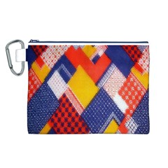 Background Fabric Multicolored Patterns Canvas Cosmetic Bag (l)