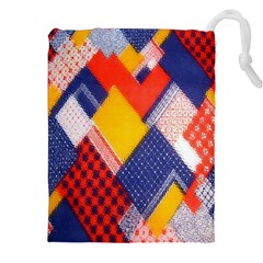 Background Fabric Multicolored Patterns Drawstring Pouches (XXL)