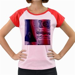 Background Fabric Patterned Blue White And Red Women s Cap Sleeve T Shirt