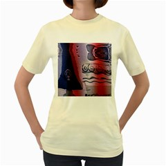 Background Fabric Patterned Blue White And Red Women s Yellow T-Shirt