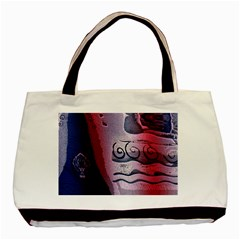 Background Fabric Patterned Blue White And Red Basic Tote Bag (Two Sides)