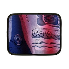 Background Fabric Patterned Blue White And Red Netbook Case (Small)