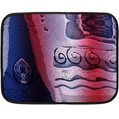 Background Fabric Patterned Blue White And Red Fleece Blanket (Mini)