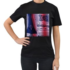 Background Fabric Patterned Blue White And Red Women s T-Shirt (Black)