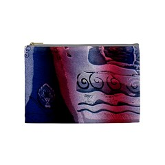 Background Fabric Patterned Blue White And Red Cosmetic Bag (Medium)