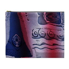 Background Fabric Patterned Blue White And Red Cosmetic Bag (XL)