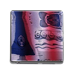 Background Fabric Patterned Blue White And Red Memory Card Reader (Square)