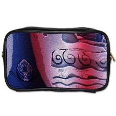 Background Fabric Patterned Blue White And Red Toiletries Bags 2-Side