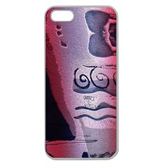 Background Fabric Patterned Blue White And Red Apple Seamless iPhone 5 Case (Clear)