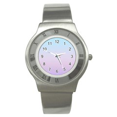 Simple Circle Dot Purple Blue Stainless Steel Watch