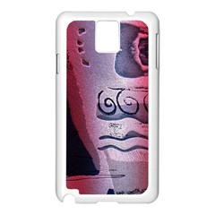 Background Fabric Patterned Blue White And Red Samsung Galaxy Note 3 N9005 Case (white)
