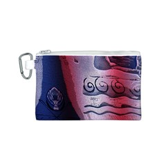 Background Fabric Patterned Blue White And Red Canvas Cosmetic Bag (S)