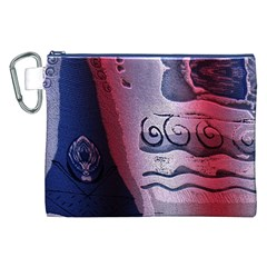Background Fabric Patterned Blue White And Red Canvas Cosmetic Bag (XXL)