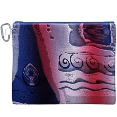Background Fabric Patterned Blue White And Red Canvas Cosmetic Bag (xxxl)