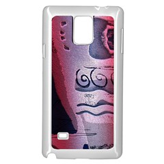 Background Fabric Patterned Blue White And Red Samsung Galaxy Note 4 Case (white)