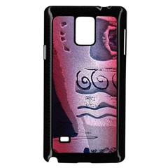 Background Fabric Patterned Blue White And Red Samsung Galaxy Note 4 Case (black)