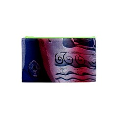 Background Fabric Patterned Blue White And Red Cosmetic Bag (XS)