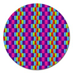 Background For Scrapbooking Or Other Patterned Wood Magnet 5  (Round)