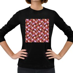 Background For Scrapbooking Or Other Shellfish Grounds Women s Long Sleeve Dark T-Shirts