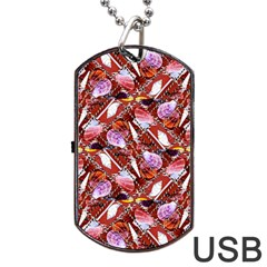 Background For Scrapbooking Or Other Shellfish Grounds Dog Tag USB Flash (Two Sides)
