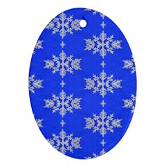 Background For Scrapbooking Or Other Snowflakes Patterns Ornament (Oval)