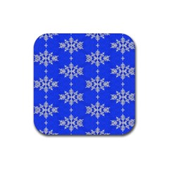 Background For Scrapbooking Or Other Snowflakes Patterns Rubber Coaster (square)