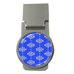 Background For Scrapbooking Or Other Snowflakes Patterns Money Clips (Round)