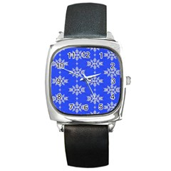 Background For Scrapbooking Or Other Snowflakes Patterns Square Metal Watch