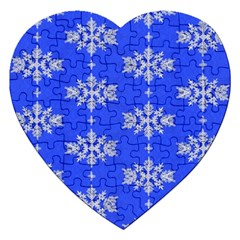 Background For Scrapbooking Or Other Snowflakes Patterns Jigsaw Puzzle (Heart)