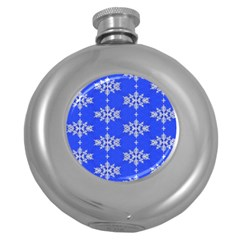 Background For Scrapbooking Or Other Snowflakes Patterns Round Hip Flask (5 Oz)
