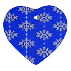 Background For Scrapbooking Or Other Snowflakes Patterns Heart Ornament (Two Sides)