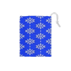 Background For Scrapbooking Or Other Snowflakes Patterns Drawstring Pouches (small)