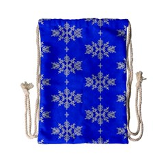 Background For Scrapbooking Or Other Snowflakes Patterns Drawstring Bag (small)