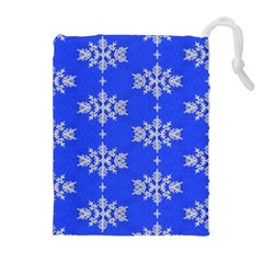 Background For Scrapbooking Or Other Snowflakes Patterns Drawstring Pouches (Extra Large)