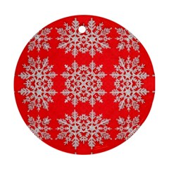 Background For Scrapbooking Or Other Stylized Snowflakes Ornament (Round)