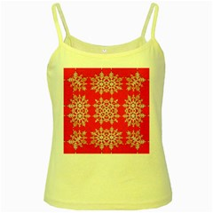 Background For Scrapbooking Or Other Stylized Snowflakes Yellow Spaghetti Tank