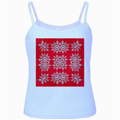 Background For Scrapbooking Or Other Stylized Snowflakes Baby Blue Spaghetti Tank