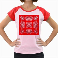 Background For Scrapbooking Or Other Stylized Snowflakes Women s Cap Sleeve T Shirt
