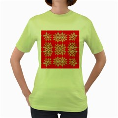 Background For Scrapbooking Or Other Stylized Snowflakes Women s Green T-Shirt