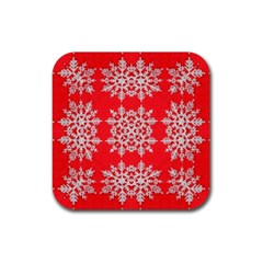 Background For Scrapbooking Or Other Stylized Snowflakes Rubber Coaster (Square)