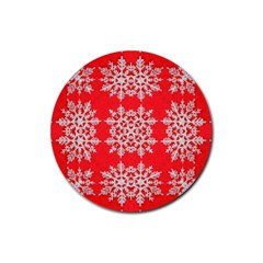 Background For Scrapbooking Or Other Stylized Snowflakes Rubber Coaster (Round)