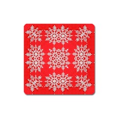 Background For Scrapbooking Or Other Stylized Snowflakes Square Magnet