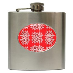 Background For Scrapbooking Or Other Stylized Snowflakes Hip Flask (6 oz)