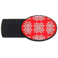 Background For Scrapbooking Or Other Stylized Snowflakes USB Flash Drive Oval (1 GB)