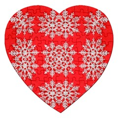Background For Scrapbooking Or Other Stylized Snowflakes Jigsaw Puzzle (Heart)