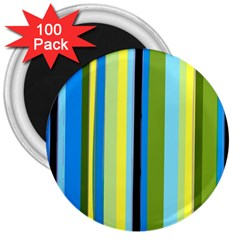 Simple Lines Rainbow Color Blue Green Yellow Black 3  Magnets (100 Pack)