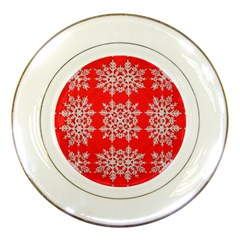 Background For Scrapbooking Or Other Stylized Snowflakes Porcelain Plates